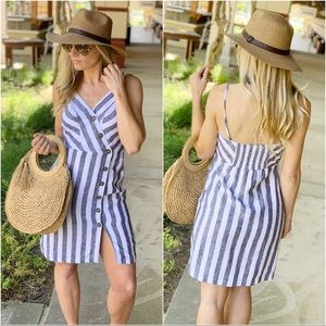 Infinity Raine Dresses - Black and ivory striped button front linen dress